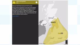 A yellow warning for strong wind has been issued for Wednesday