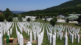 The memorial-cemetery complex to the victims of the Srebrenica massacre.