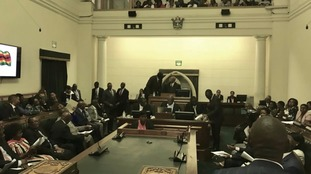 Inside Zimbabwe's parliament.