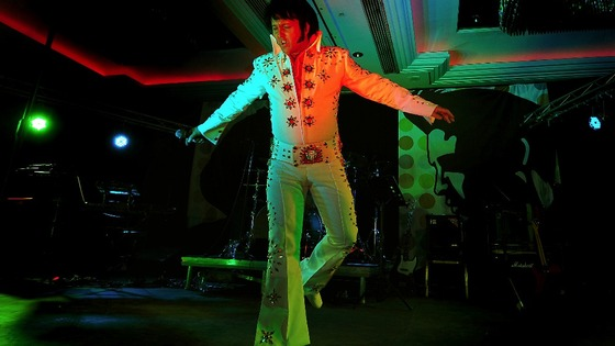 Elvis tribute artist Carl Ryder from Birmingham at European Elvis Championships.