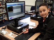 Camilo Cervantes, aged 10, tries coding with the micro:bit at King's Lynn library