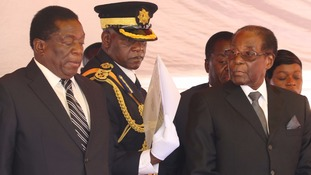 Emmerson Mnangagwa (left) and Robert Mugabe