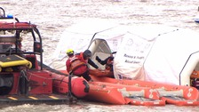 Rescuers respond to mock plane crash on River Mersey as part of training drill