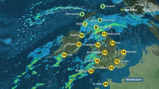 Heavy rain and strong winds are likely over Northern Ireland, southern Scotland, Cumbria and Wales.