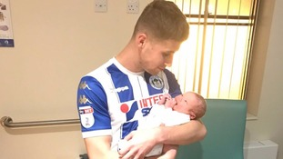 Ryan Colclough scores twice before being substituted to witness son's birth - still in full Wigan kit