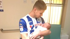 Footballer scores twice before leaving game to witness son's birth