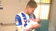 Footballer scores twice before being substituted to witness son's birth