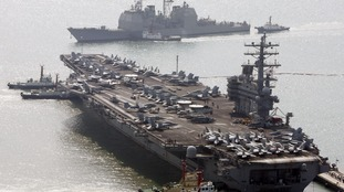 The US aircraft carrier USS Ronald Reagan.