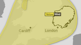 Area covered by the yellow warning for strong winds.