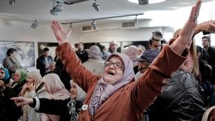 Bosnian woman celebrates