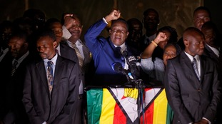 Emmerson Mnangagwa makes first public appearance after return to Zimbabwe as the country's new leader