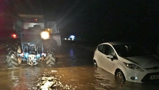 Five cars were caught up in the flooding on Wednesday night