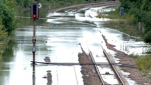 Flooding on railway tracks