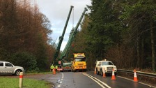 41 tonne crane trapped in road barrier on the A7
