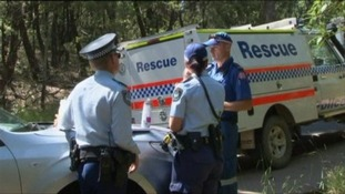 Emergency services at the scene of the waterfall accident