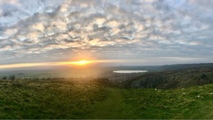sunset over Cheddar Gorge
