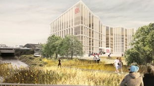 The proposed view of the main teaching and research building from Brock's Bridge.