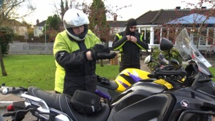Melissa prepares to ride with her new bike which is now kept in the Forest of Dean.