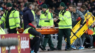 Sunderland's Duncan Watmore is stretchered off injured during the Premier League match at the Stadium of Light. Sunderland V Hull City (2016)