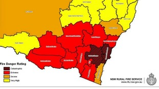 A New South Wales Fire Service map of areas that are in danger of wildfires