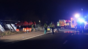 Overturned coach on the M3