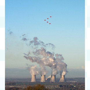 RAF Red Arrows over Cottam Power Station, Lincs.