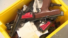 Guns and other dangerous weapons have been left in amnesty bins at manned police stations.