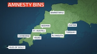 Locations of the amnesty bins at 10 manned police stations across Devon and Cornwall (two are in Plymouth).