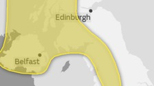 A yellow warning suggests that severe weather is possible