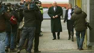 Stuart Hall leaving Preston Magistrates Court today