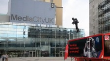 The 'real-life Iron Man' displayed his invention at Media City