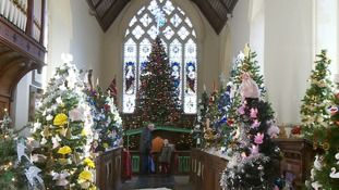 Some of the 365 trees at the Stowmarket Christmas Tree Festival
