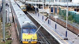 An East Coast main line train pulls out of Peterborough Train Station