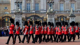 Soldiers carrying out the Changing of the Guard ceremony.