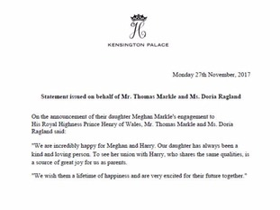 A letter from Meghan Markle's parents
