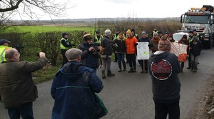 Protesters stage 'slow walk' outside fracking site