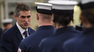 Gavin Williamson meets crew members onboard HMS Queen Elizabeth.