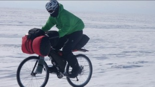 Maria Leijerstam cycling across lake Baikal