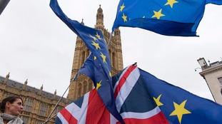 Campaigners wave EU flags outside the Houses of Parliament.