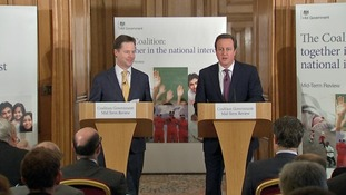 David Cameron and Nick Clegg outlining the mid-term review