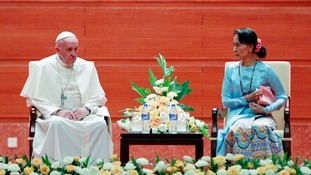 Pope calls for 'respect of each ethnic group' in Myanmar but fails to mention plight of Rohingya Muslims