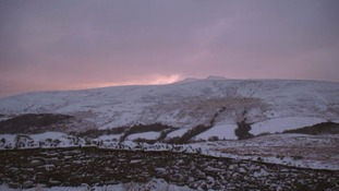 Snow capped mountains in the Brecon Beacons