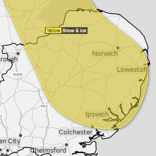 The area covered by a yellow weather warning for snow and ice from Wednesday evening into Thursday.