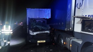 A stationary lorry was hit