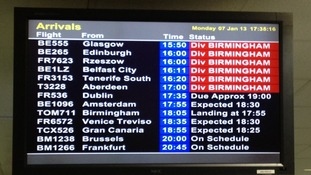 Flights are being diverted to Birmingham