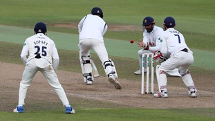 Essex's Varun Chopra taking the catch which secured victory at Warwickshire in September and the County Championship title