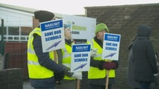 Teaching staff strike outside Whitehaven Academy.