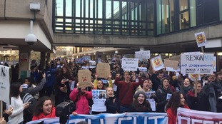 Students at the University of Bath protest at the retirement terms of vice chancellor Professor Dame Glynis Breakwell