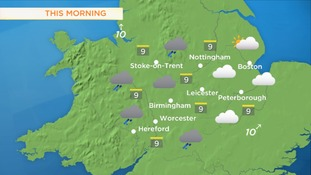 Cloudy in the West Midlands but slightly sunnier in the East Midlands