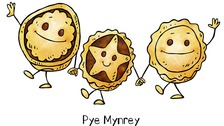 Pye Mynrey (Mince Pie) is some of the Manx language featured in the illustrations.